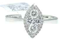 Jewelry Unlimited 14k,White,Gold,Round,Cut,Engagement,Bridal,Marquise,Style,Diamond,Ring,0.47,Ct