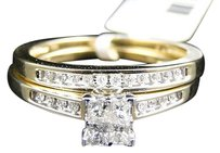 Jewelry Unlimited 10k,Yellow,Gold,Princess,Cut,Engagement,Bridal,Wedding,Diamond,Ring,Set,0.40,Ct
