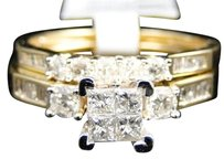 Jewelry Unlimited Ladies,Yellow,Gold,Princess,Cut,Diamond,Engagement,Wedding,Bridal,Ring,Set,.9,Ct