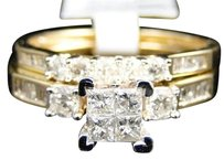 Jewelry Unlimited Ladies,Yellow,Gold,Princess,Cut,Diamond,Engagement,Wedding,Bridal,Ring,Set,1,Ct