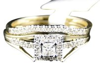 Jewelry Unlimited Ladies,10k,Yellow,Gold,Solitaire,Princess,Diamond,Engagement,Wedding,Ring,Set