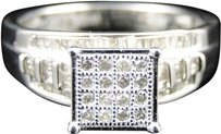 Jewelry Unlimited Ladies,White,Gold,Finish,Round,Diamond,Square,Engagement,Wedding,Band,Ring