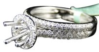 Jewelry Unlimited Women,18k,White,Gold,Diamond,Round,Cut,Halo,Semi,Mount,Solitaire,Engagement,Ring