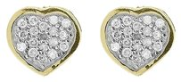 Jewelry Unlimited 10k,Yellow,Gold,Round,Pave,Diamond,7mm,Mini,Heart,Stud,Earrings,0.20,Ct