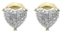 Jewelry Unlimited 10k,Yellow,Gold,Ladies,Round,Diamond,7mm,Puffed,Heart,Studs,Earrings,0.20,Ct