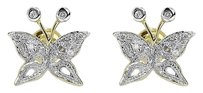 Jewelry Unlimited 10k,Yellow,Gold,Ladies,10mm,Pave,Round,Diamond,Butterfly,Stud,Earrings,0.15,Ct