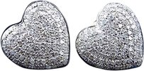 Jewelry Unlimited 10k,Yellow,Gold,Ladies,Pave,Round,Diamond,Heart,Invisible,Studs,Earrings,1.20,Ct
