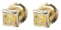 Jewelry Unlimited 10k,Yellow,Gold,Mens,Ladies,Canary,Diamond,Mini,Domed,Kite,Stud,Earrings,4.5mm