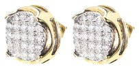 Jewelry Unlimited 10k,Yellow,Gold,Mens,Ladies,Round,Diamond,Pave,12mm,Bezel,Studs,Earrings,1,Ct