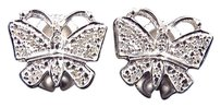 Jewelry Unlimited White,Gold,Finish,Genuine,Diamond,Unique,Butterfly,Stud,Screwback,Earrings,13mm