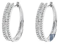 Jewelry Unlimited 10k,White,Gold,Ladies,Round,Baguette,Diamond,20mm,Huggie,Hoop,Earrings,0.73,Ct