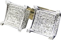 Jewelry Unlimited Mens,Ladies,10k,White,Gold,Diamond,3d,4-prong,Square,Shape,Stud,Earrings,12mm