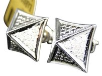 Jewelry Unlimited Mensladies,10k,White,Gold,Round,Pave,Diamond,3d,Pyramid,Studs,Earrings,.65,Ct