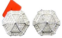 Jewelry Unlimited Mens,Or,Ladies,White,Gold,Finish,Round,Diamond,3d,Hexagon,Studs,Earrings,1.2,Ct