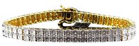 Jewelry Unlimited Mens,Ladies,Yellow,Gold,Finish,Round,Cut,Real,2,Row,7,Mm,Diamond,Bracelet,8,Inch