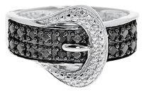 Jewelry Unlimited White,Gold,Finish,Ladies,Black,Diamond,Buckle,Designer,Fashion,Band,Ring,0.11,Ct