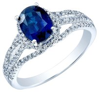 Beautiful Blue Sapphire & Diamond Engagement Ring in 14K White Gold