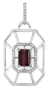 One of a Kind Rhodolite Garnet and Diamond Pendant in 18K White Gold