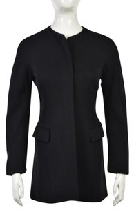 Jil Sander Womens Basic Long Sleeve Wool Blend Coat Black Jacket