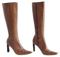 Jil Sander Tan Leather Point Square Toe Mid Calf Pumps Brown Boots
