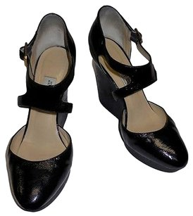 Jimmy Choo Patent Leather Round Toe Rubber Wedge High Heel Black Platforms