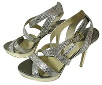Jimmy Choo Vamp Glitter Covered Leather Strappy Sandals Silver with gold Platforms
