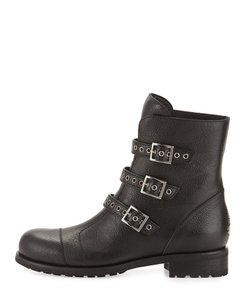 Jimmy Choo Dover Leather Triple Buckle Flat Eu Black Boots