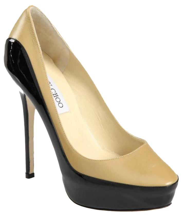 Jimmy Choo Black and Nude (Beige) Sepia (Color Block) Patent Leather Trimmed Pumps Size US 7 Regular (M, B)