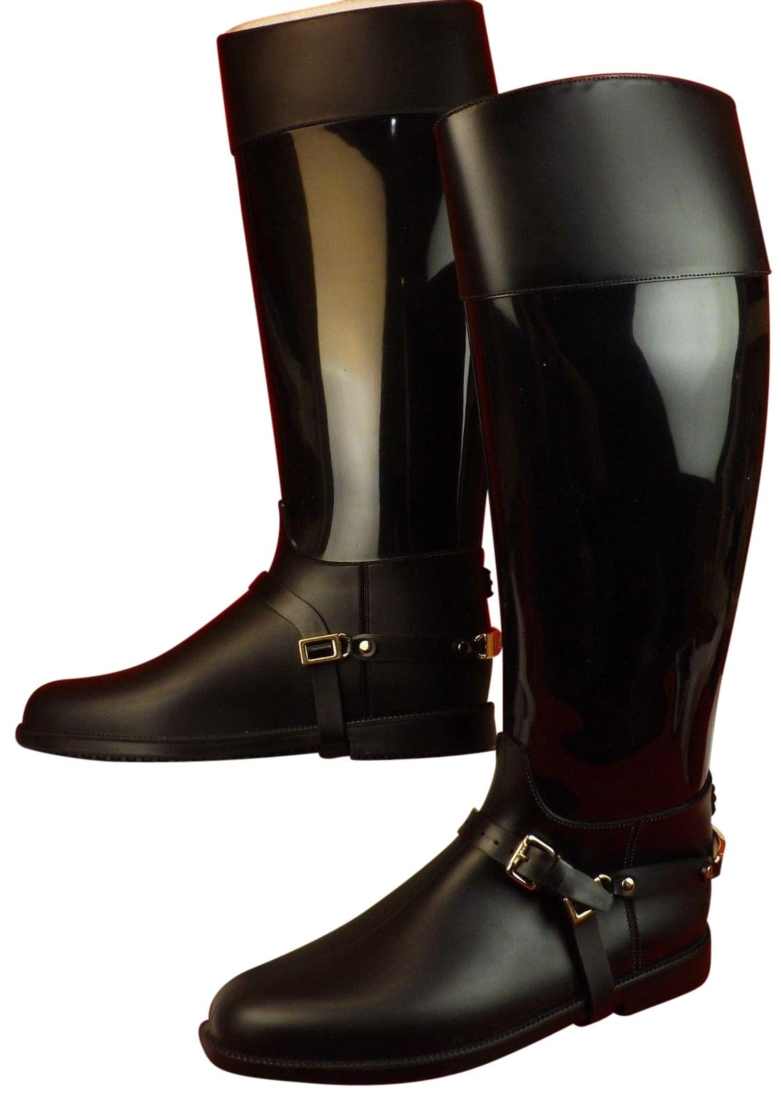 Jimmy Choo Black Cheshire Rubber Pvc Stirrup Strap Rain Riding Tall Boots/Booties Size EU 40 (Approx. US 10) Regular (M, B)