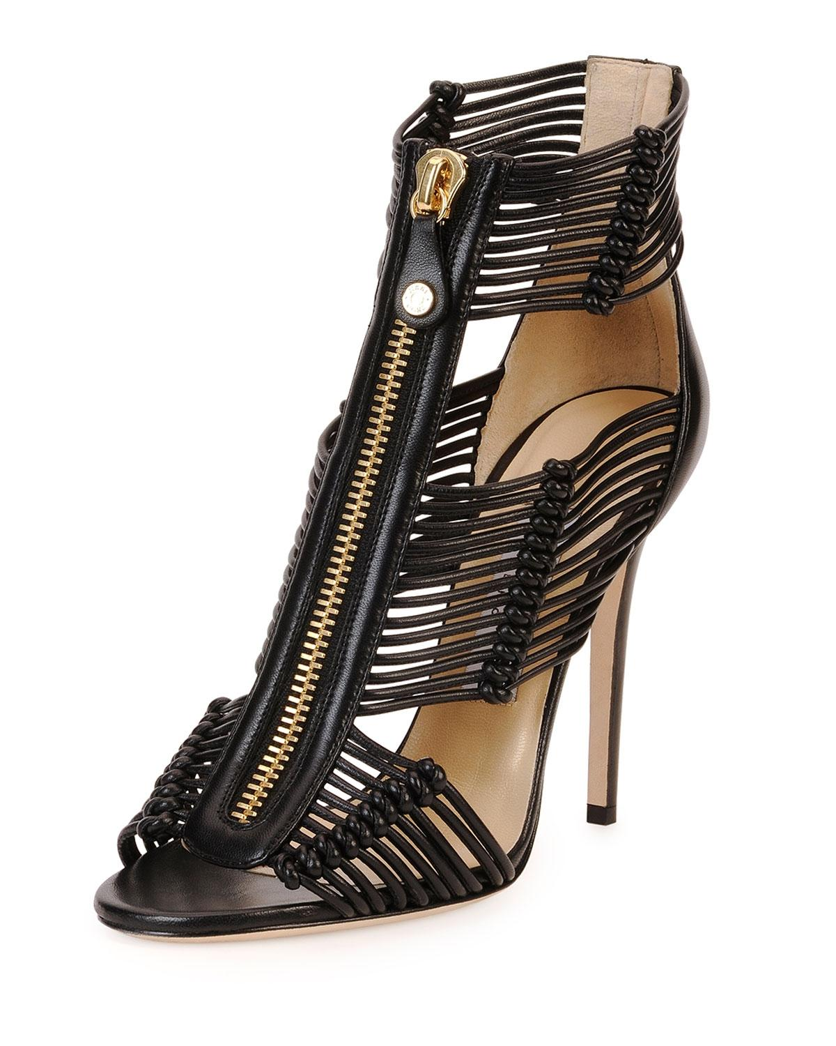 4f0d27ba6a4e ... Jimmy Choo Black Gold Leather Katie Strappy Zip-front Sandals Size Size  Size EU 38.5 ...