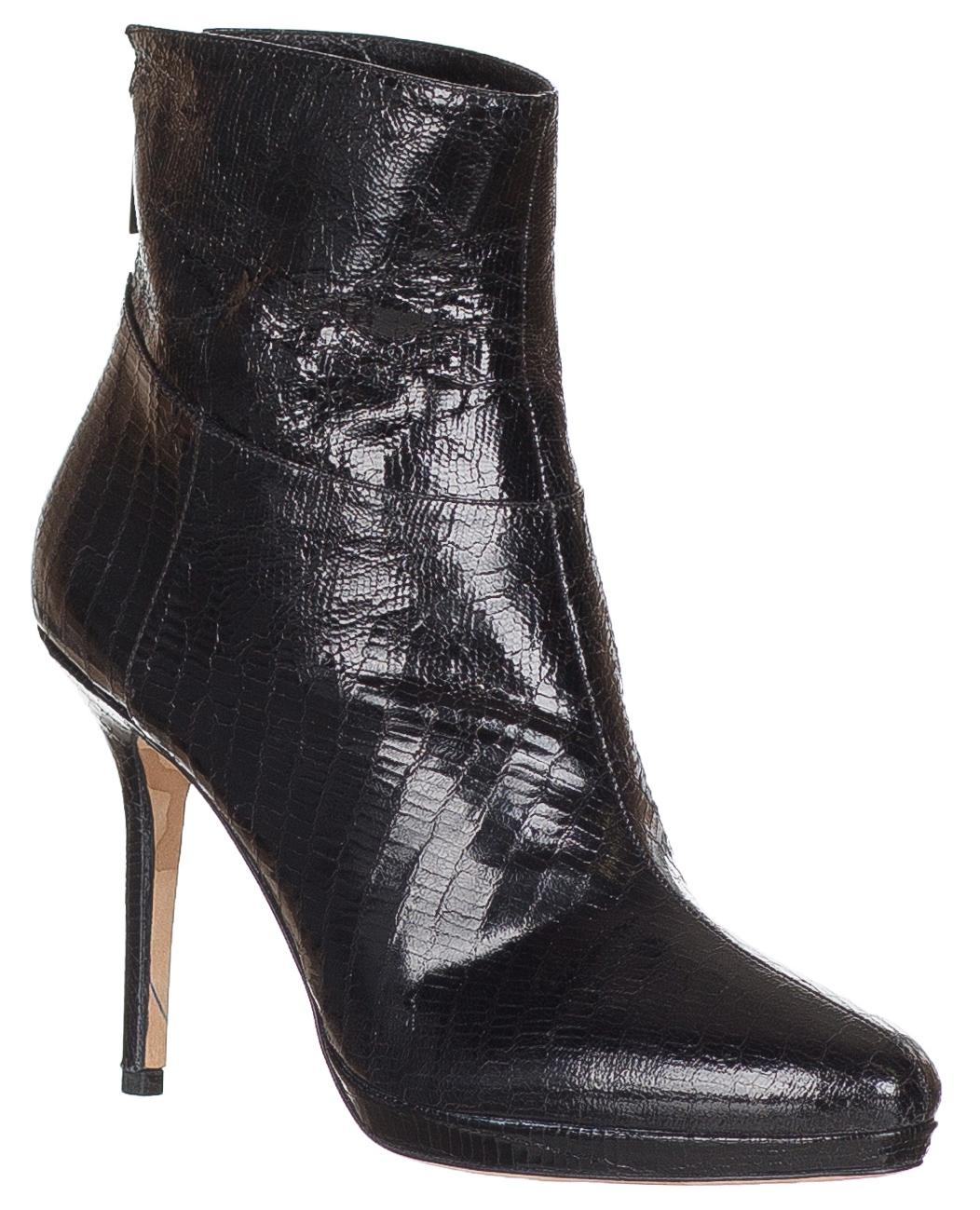 Jimmy Choo Black Lizard Embossed Leather Ankle Boots/Booties Size US 9 Regular (M, B)