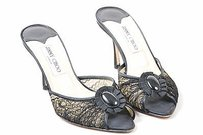Jimmy Choo Lace Grosgrain Brooch Peep Toe Slip On Patsy Heels Black Mules