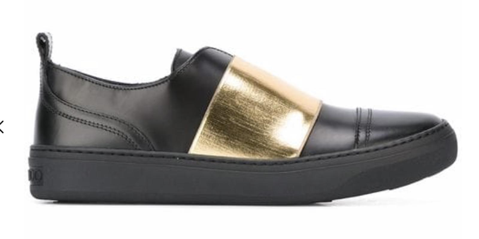 Jimmy Choo Black New Boston Sneakers Black/Gold Sneakers Size EU 36.5 (Approx. US 6.5) Regular (M, B)