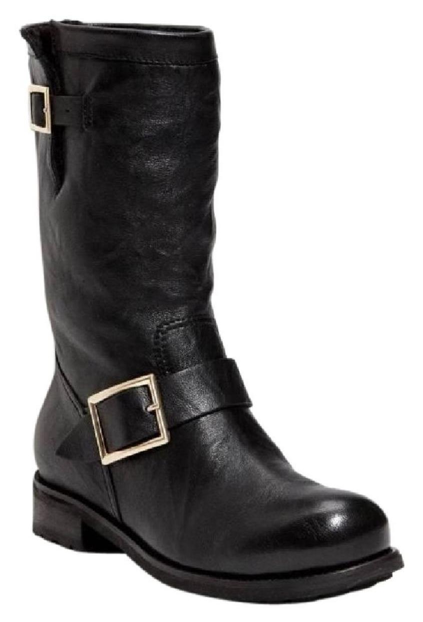 Jimmy Choo Black 'youth' Tall Leather Buckle Boots/Booties Size EU 37 (Approx. US 7) Regular (M, B)