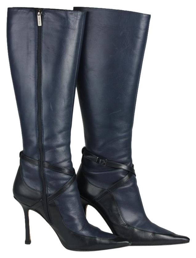 215eb559c896 ... order jimmy choo pointed toe leather heel blue boots 09386 19b15