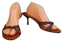Jimmy Choo Womens Textured Heels Open Toe Twisted Straps Brown Mules