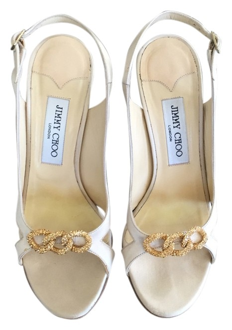 Jimmy Choo Champagne Crystal Embellished Satin Slingback Evening Formal Shoes Size US 8.5 Regular (M, B)