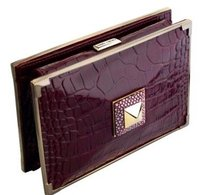Jimmy Choo Latoya Color Croc Stamped plum Clutch