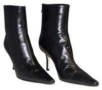 Jimmy Choo Leather Pointed Toe Zip High Heel Ankle Black Boots
