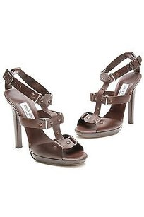 Jimmy Choo Dark Leather Brown Sandals