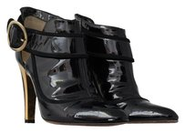 Jimmy Choo Gold Hardware Gold Patent Leather Black Boots