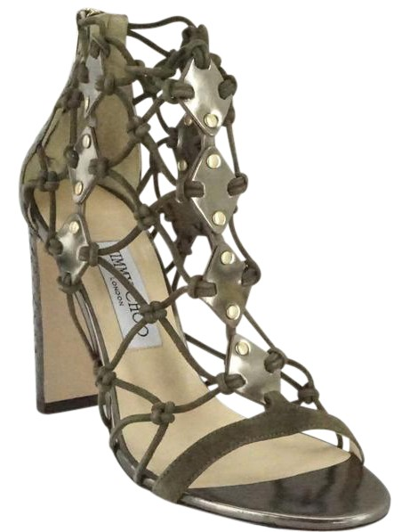 Jimmy Choo Green Leather Tickle Strappy 100mm Heel Caged Knot Sandals Size US 8 Regular (M, B)