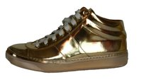 Jimmy Choo Leather Mirror Sneakers Gold Athletic