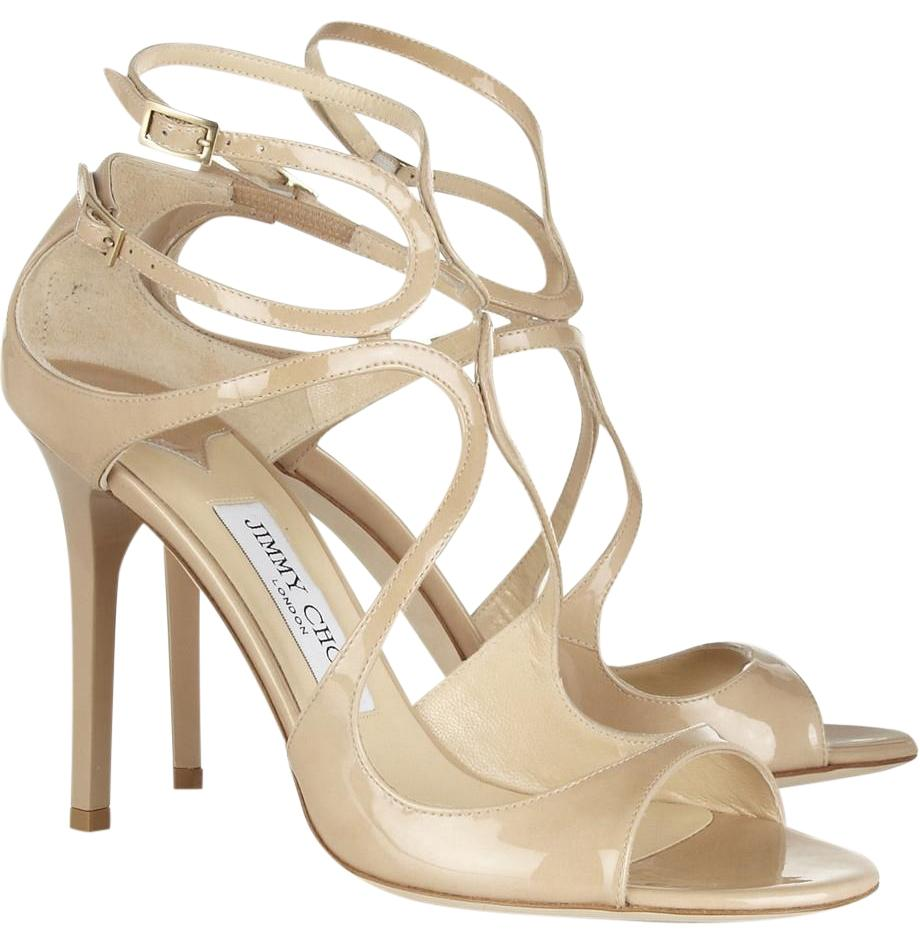 Jimmy Choo Nude Lang 100mm Patent Leather Sandals Size EU 37 (Approx. US 7) Regular (M, B)