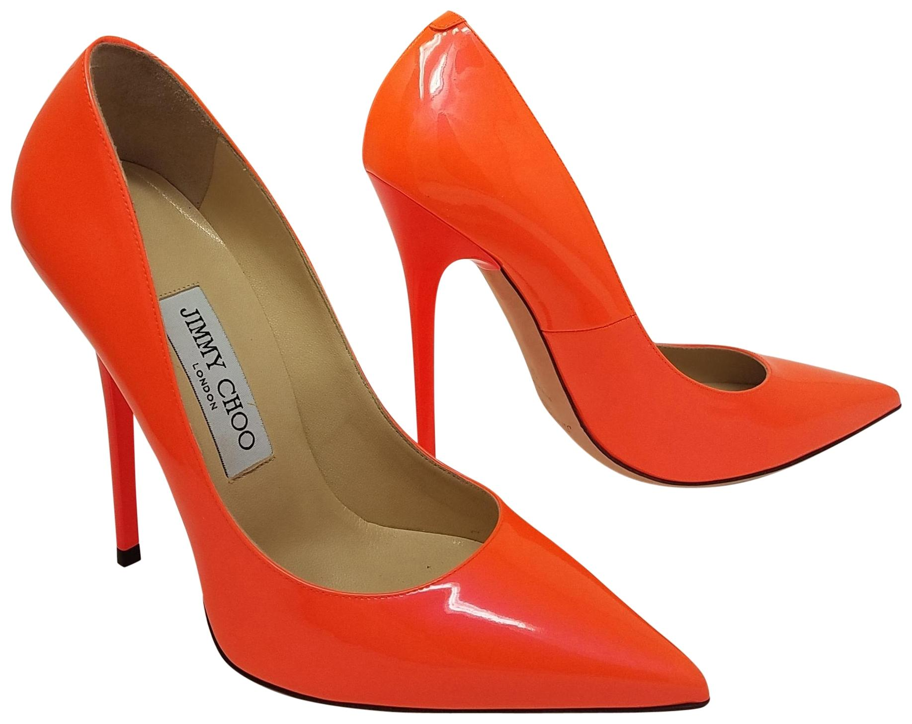 c8725cfe644 ... netherlands jimmy choo pointed toe crystal abel anouk patent leather  orange red pumps b1ccb 9dc47