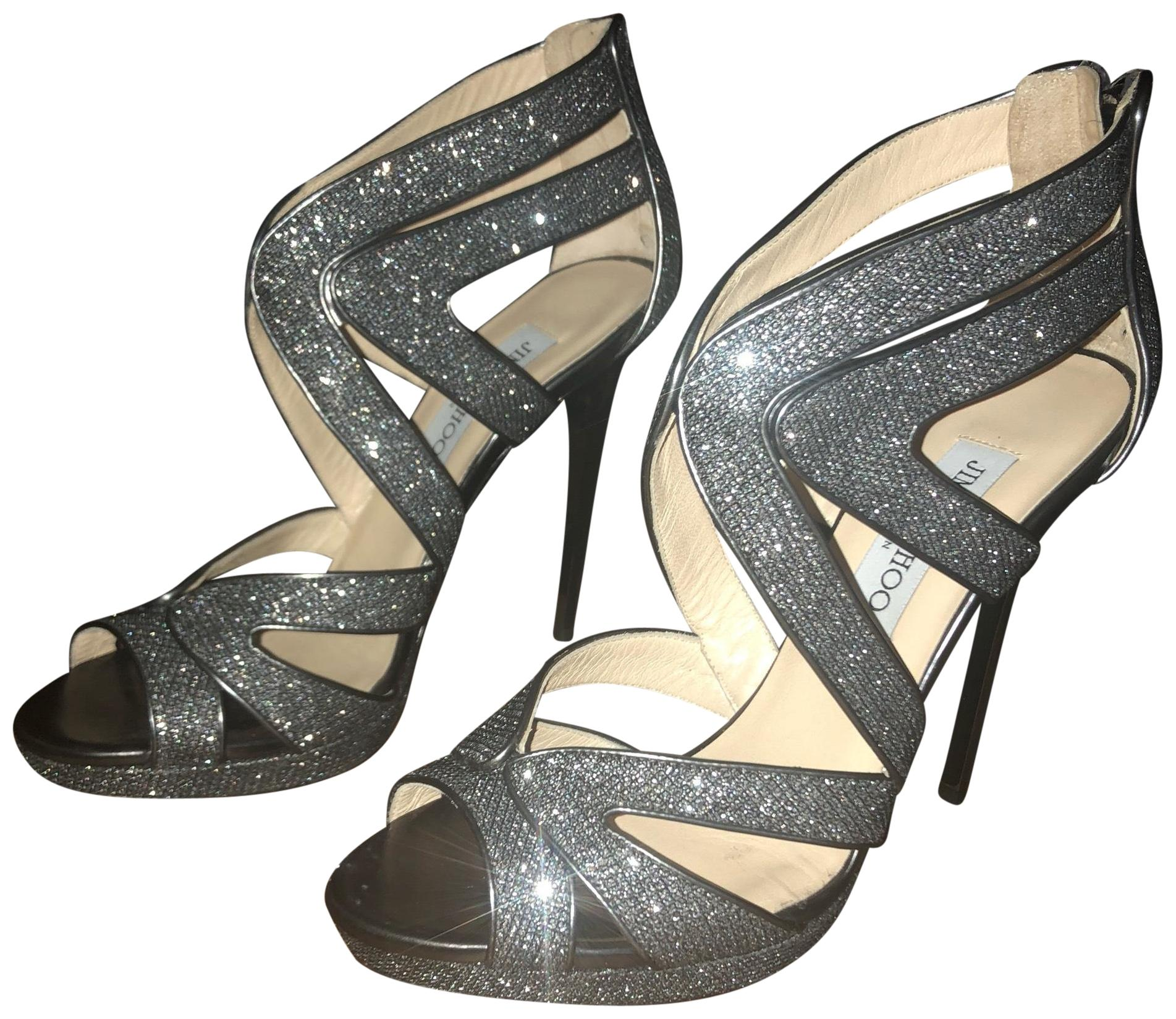 Jimmy Choo Pewter Sparkle Youth Mbe Formal Shoes Size EU 38.5 (Approx. US 8.5) Regular (M, B)