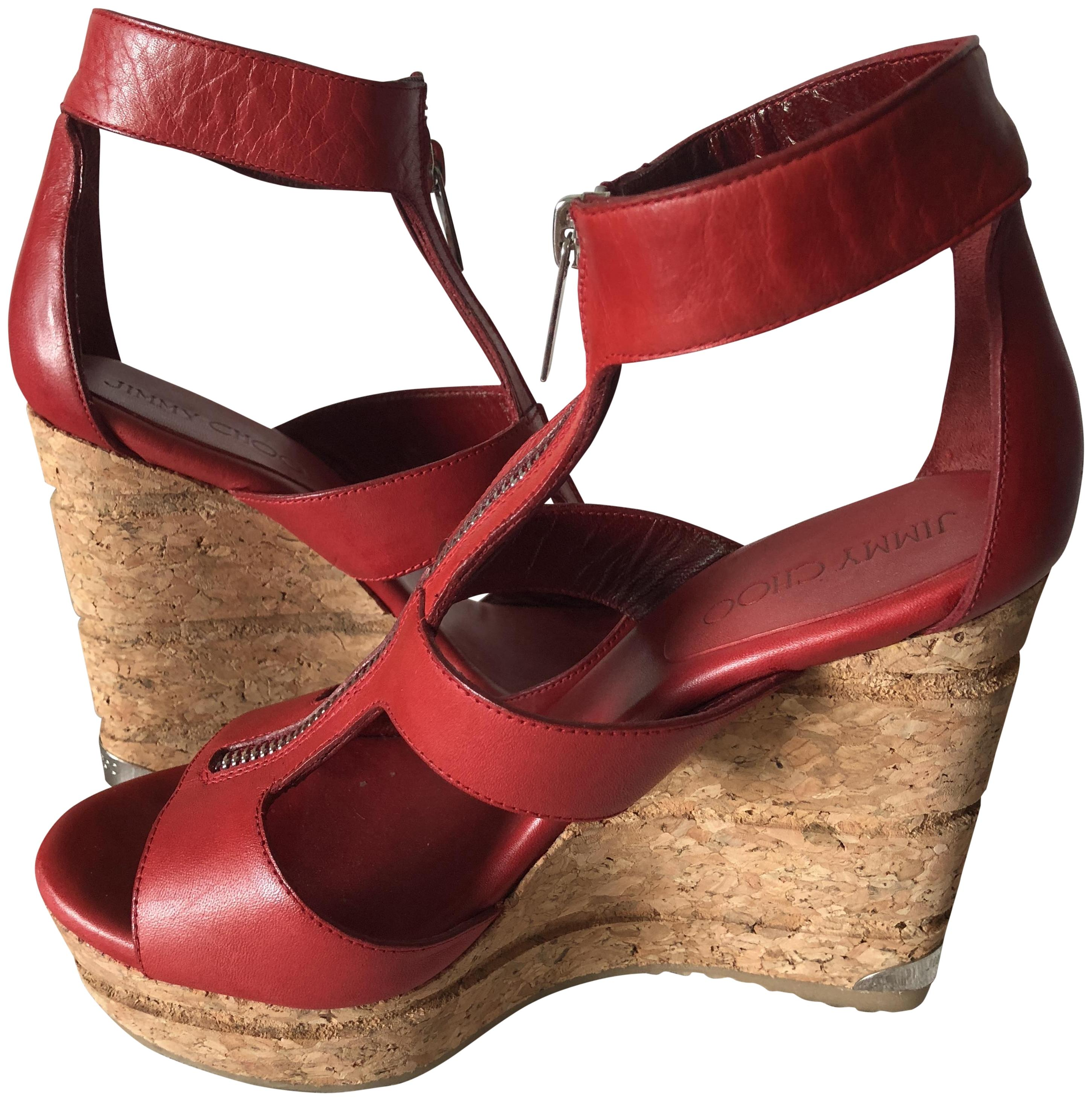 32ea65314bf ... czech jimmy choo leather zipper modern comfortable red wedges 04715  d32eb