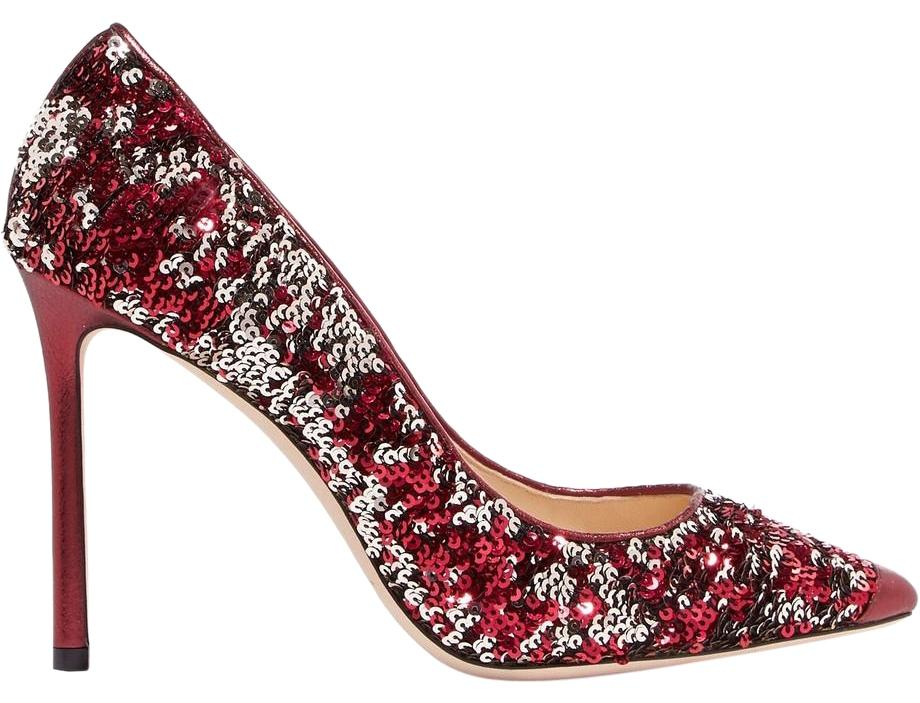 Jimmy Choo Red Romy 100 Sequined Metallic Leather Pumps Size EU 38 (Approx. US 8) Regular (M, B)