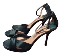 Jimmy Choo Satin Cross Teal Platforms