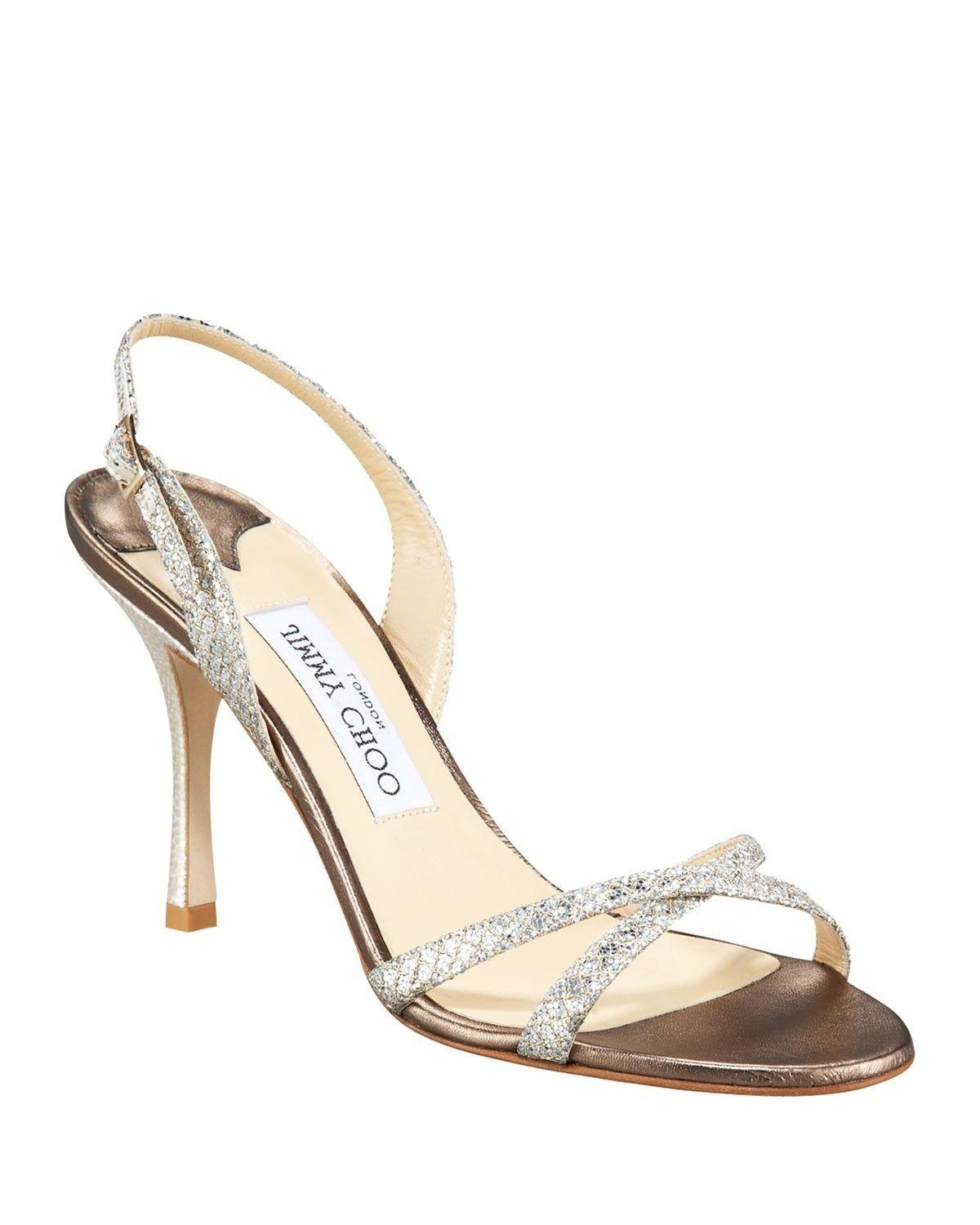 31b58ae009c Jimmy Choo Silver Silver Silver India Glitter Leather Open Toe Slingback  Slip Sandals Size US 6.5 Regular (M